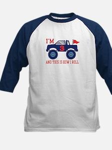 3rd Birthday Monster Truck Kids Baseball Jersey