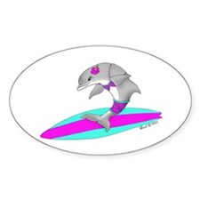 Surfing Dolphin Oval Decal