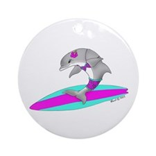 Surfing Dolphin Ornament (Round)