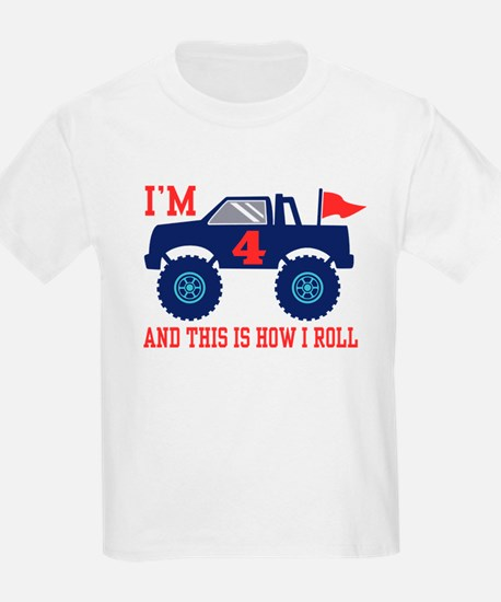 4th Birthday Monster Truck T-Shirt