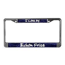 Funky Love Bichon Frise License Plate Frame
