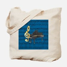 Grand Piano Gold Treble Clef Blue Sheet Tote Bag