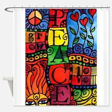 Peace, Love, Grow Shower Curtain