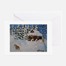 Winter Cabin Holiday Christmas Greeting Cards