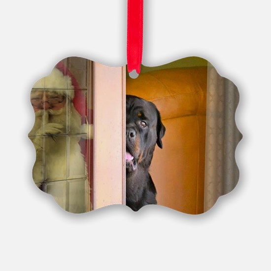 Rottweiler Spying on Santa Ornament