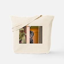Rottweiler Spying on Santa Tote Bag