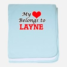 My heart belongs to Layne baby blanket