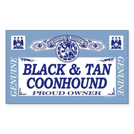 BLACK TAN COONHOUND Rectangle Sticker