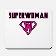 Superwoman with superhero emblem Mousepad