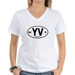 Venezuela Euro Oval Women's V-Neck T-Shirt