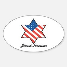 Jewish American Star Oval Decal