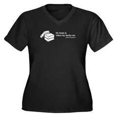 Home is Where Books Are Women's Plus Size V-Neck D