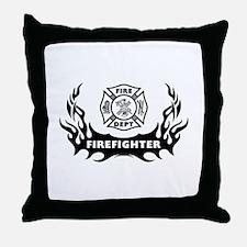 Fire Dept Firefighter Tattoos Throw Pillow