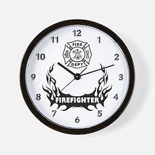 Fire Dept Firefighter Tattoos Wall Clock