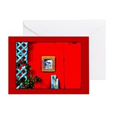 Skull on Red Shed Greeting Card