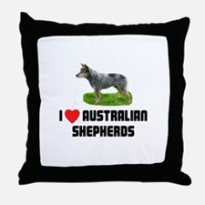 I Love Australian Shepherds Throw Pillow