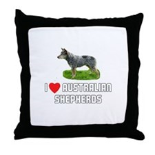 I Love Australian Shepherds Throw Pillow