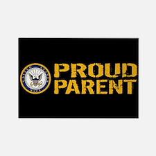 U.S. Navy: Proud Parent (Black & Rectangle Magnet