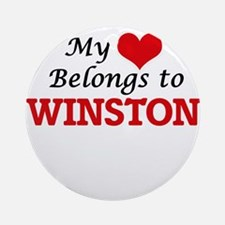 My heart belongs to Winston Round Ornament