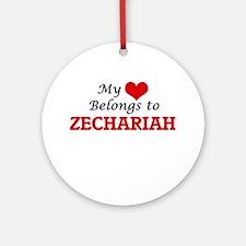 My heart belongs to Zechariah Round Ornament