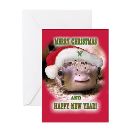 Helaine's Xmas Blowfish Greeting Card