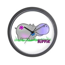 Hippie Hippo Wall Clock