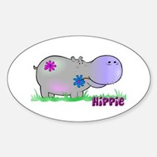 Hippie Hippo Oval Decal
