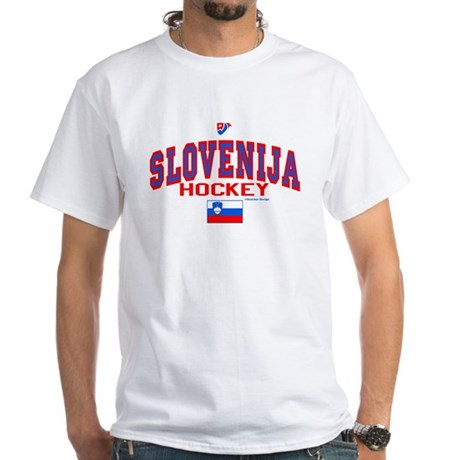 SI Slovenija(Slovenia) Hockey White T-Shirt