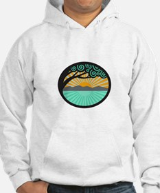 Monkeypod Tree Mountain Sea Sunrise Oval Retro Hoo