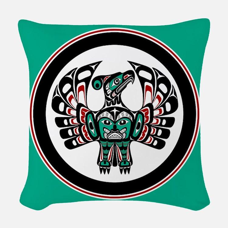 Haida Thunderbird green button Woven Throw Pillow