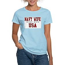 Navy Wife - The Hardest Job Women's Pink T-Shirt