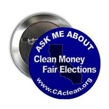 """Ask Me About Clean Money"" Button (Blue)"