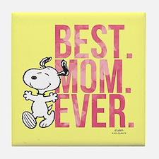 Snoopy -Best Mom Ever Full Bleed Tile Coaster