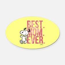 Snoopy -Best Mom Ever Full Bleed Oval Car Magnet