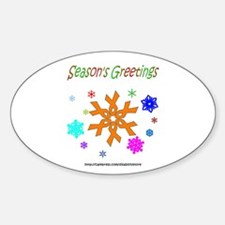 Orange Ribbon Snowflake Oval Decal