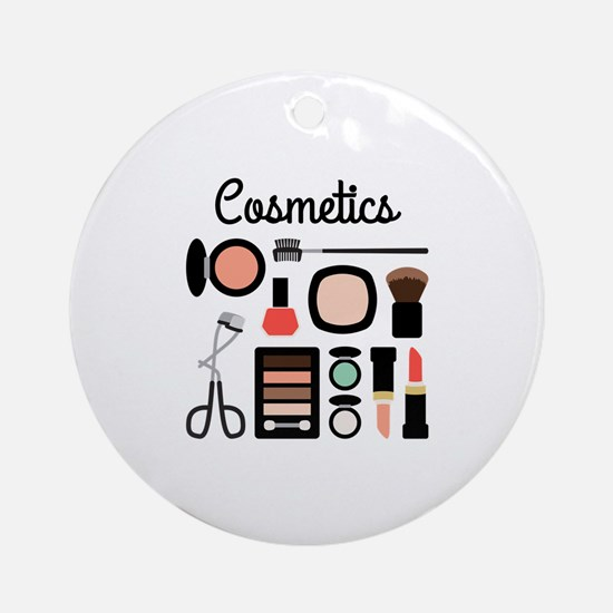 Assorted Cosmetics Round Ornament