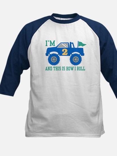 2nd Birthday Monster Truck Kids Baseball Jersey
