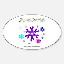 Purple Ribbon Snowflake Oval Decal