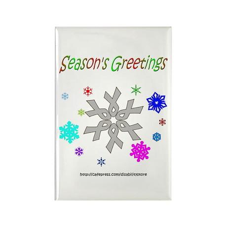 Grey Ribbon Snowflake Rectangle Magnet (100 pack)
