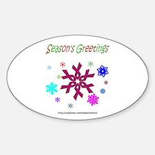 Burgandy Ribbon Snowflake Oval Decal