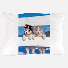 Two Husky puppies Pillow Case