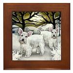 WHITE SCHNAUZER DOGS WINTER SUNSET Framed Tile