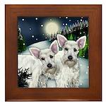 SCHNAUZER DOGS SNOW MOUNTAIN Framed Tile