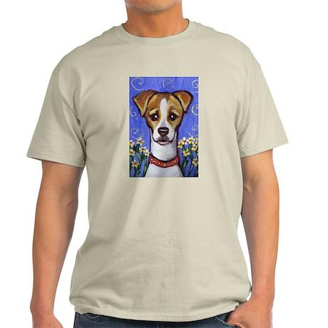 Jack Russell w Flowers Design Ash Grey T-Shirt