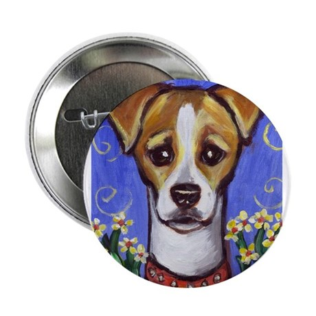 Jack Russell w Flowers Design Button