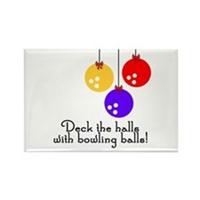 BowlingChick Deck the Halls Rectangle Magnet