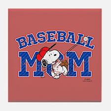 Snoopy Baseball Mom Full Bleed Tile Coaster