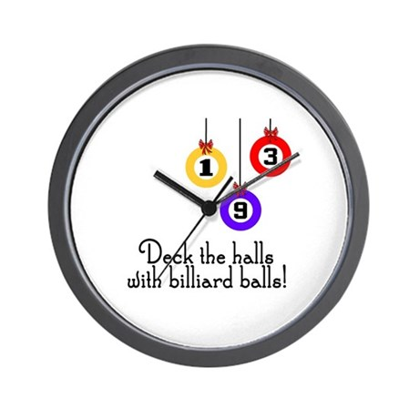 PoolChick Deck the Halls Wall Clock
