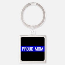 Police: Proud Mom (Thin Blue Line) Square Keychain