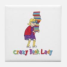 Crazy Book Lady Tile Coaster